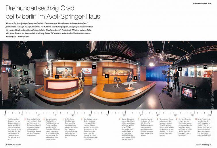 TV studio tv.berlin Axel Springer: 360° panorama photo | © Eric Shambroom Photography
